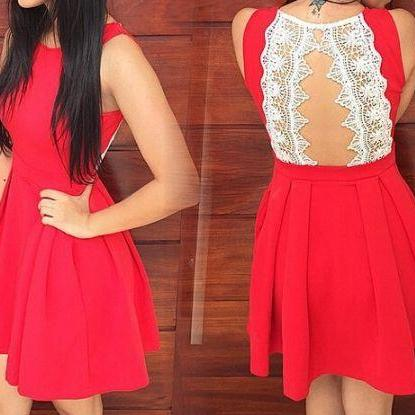 Red Homecoming Dress, Lace Back Pro..