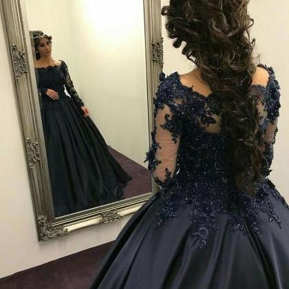 Black Satin Ball Gown Formal Dresse..