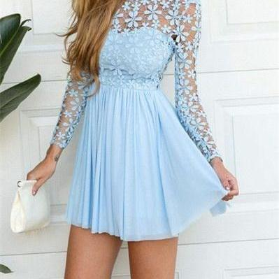 Long Sleeve Prom Dress,Elegant Prom..