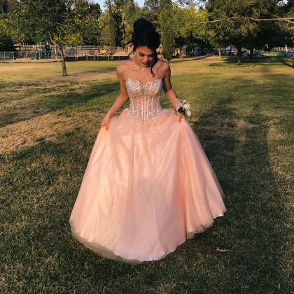 Cheap prom dresses 2017,pink ball g..