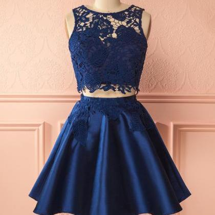 Lace Homecoming Dresses,Navy Two Pi..