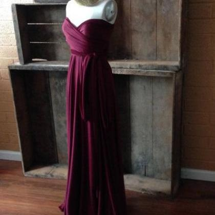 Chiffon Burgundy Long Bridesmaid Dr..