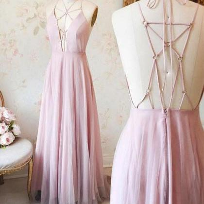 Unique Pink V Neck Long Prom Dress,..