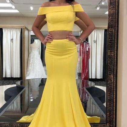 Two Piece Off the Shoulder Yellow M..