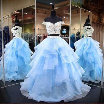 Light Blue Two Pieces Prom Dress Wi..