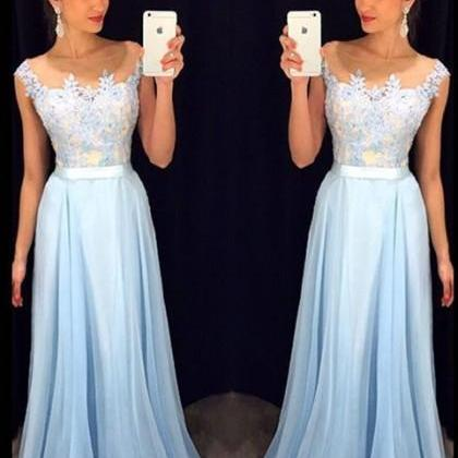Prom Dress Prom Dress Blue Illusion..