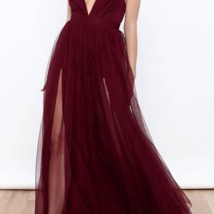 8ed8c40e1f Burgundy Tulle Maxi Dress Featuring Plunge V Bodice And High Slit on ...
