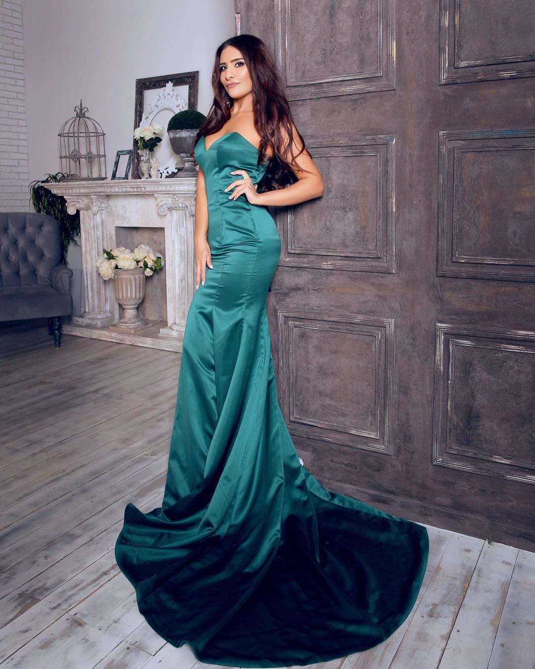Green Evening Dresses,Silk Satin Evening Dresses,Mermaid Evening ...