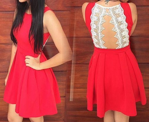 Red Homecoming Dress, Lace Back Prom Dress, short prom dress,high quality prom dress,Round Neck, Beautiful Paty Dress, Evening Dress