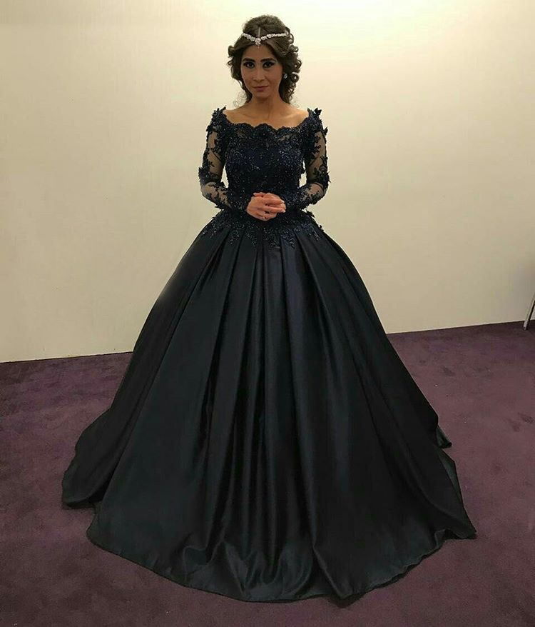 Black Satin Ball Gown Formal Dresses 2017 Sheer Long Sleeves with Lace Appliques Most Beautiful Evening Party Gowns for Special Occasion New Design