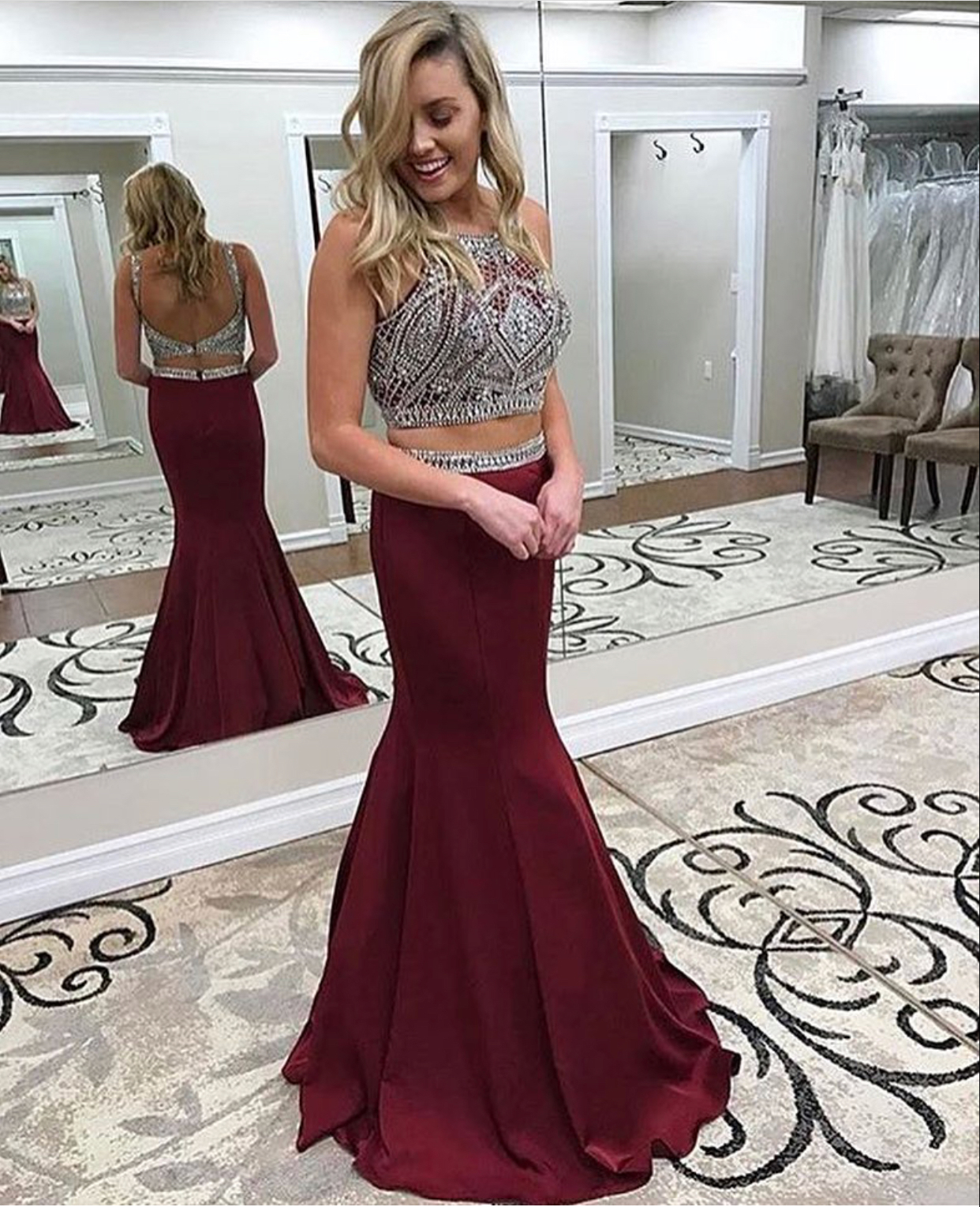 Cheap prom dresses 2017,Burgundy Satin Prom Dress,2 Pieces Prom Dress,Mermaid Formal Gown,Fashion Prom Dress,Sexy Party Dress,Custom Made Evening Dress
