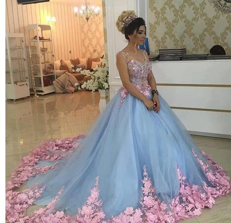 Cheap Prom Dresses 2017,Baby Blue 3D Floral Masquerade Ball Gowns ...