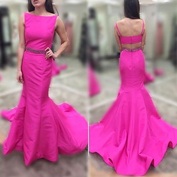 Cheap prom dresses 2017,fashion new arrive open back mermaid hot pink long long prom dress,