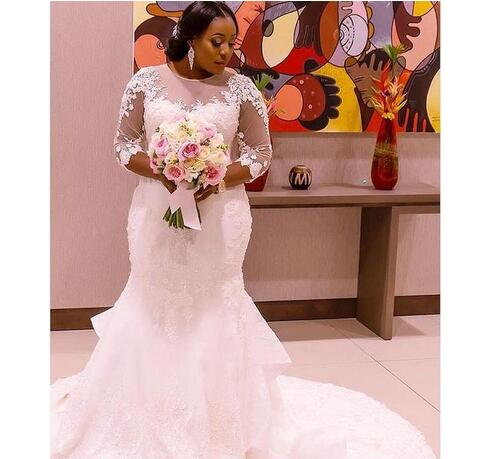 Cheap wedding dresses 2017,New African Zambia Mermaid Plus Size Wedding Dresses 3/4 Long Sleeves Sheer Neck Appliques Back With Button Sweep Train Bridal Gowns