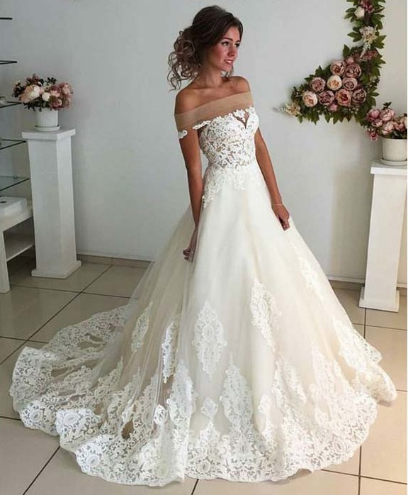 Wedding Dresses 2017 Charming Tulle Lace Dress White Gown Y Bridal