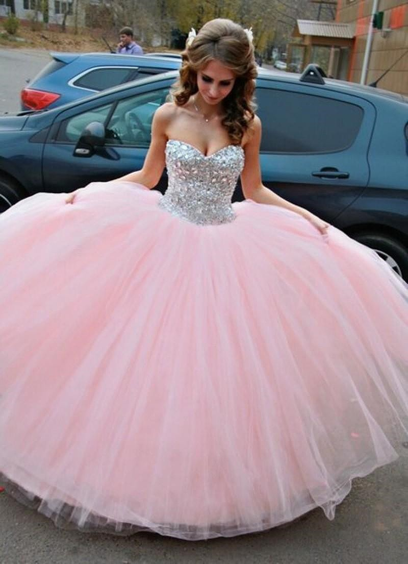 Cheap Prom Dresses 2017,Tulle Wedding Dress,Sparkle Crystals Sweet ...