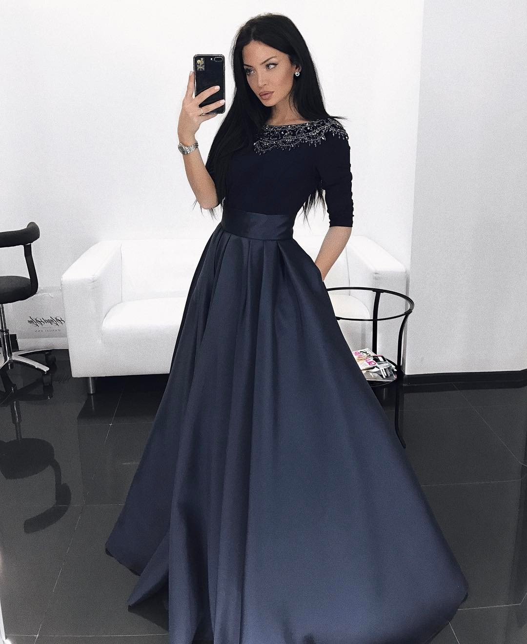 Cheap Prom Dresses 2017,Dark Navy Long Sleeves Evening Dress With ...