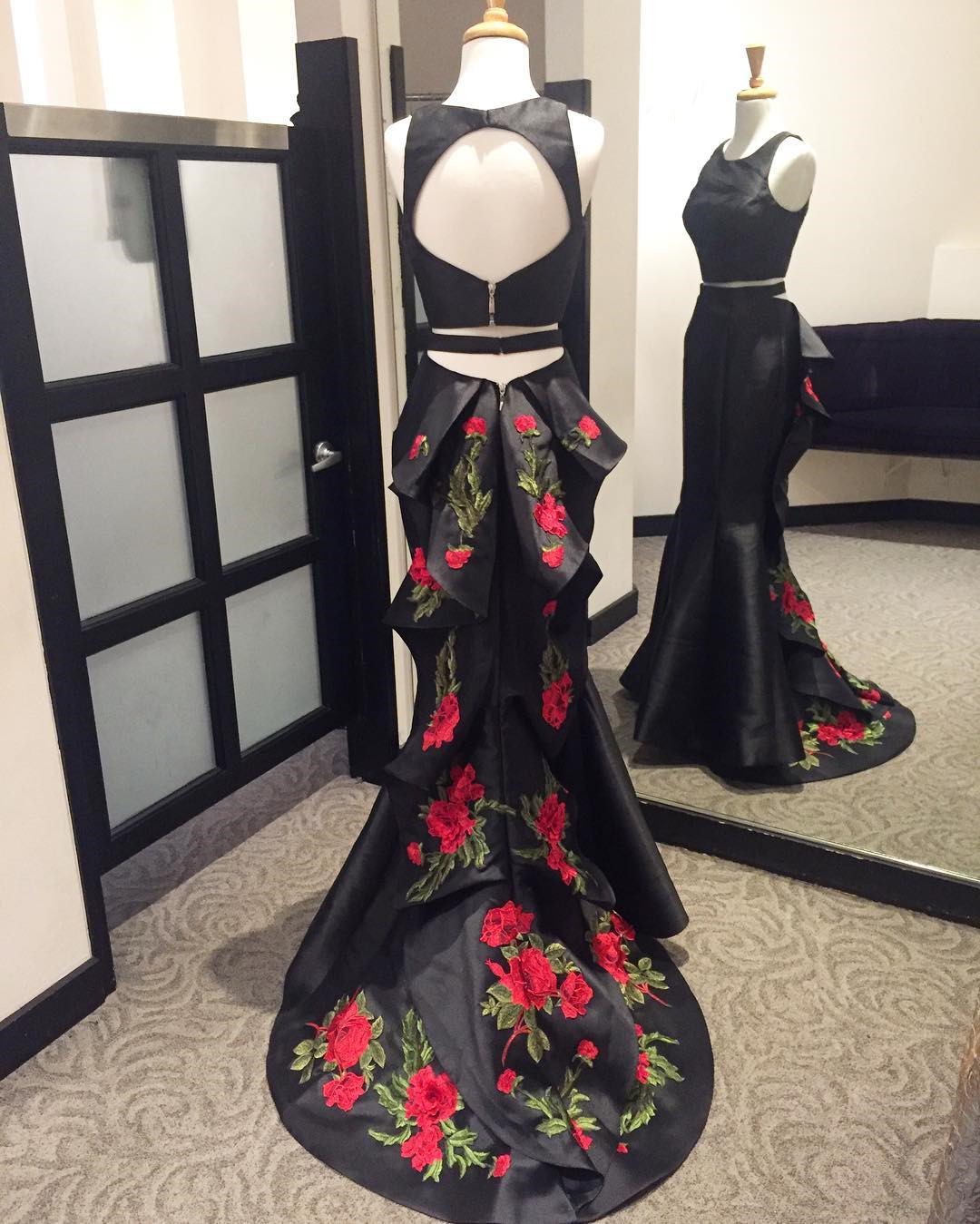 Custom Made Black Two-Piece Floor Length Mermaid Bridesmaid Dress with Floral Embroidered Train, Prom Dress