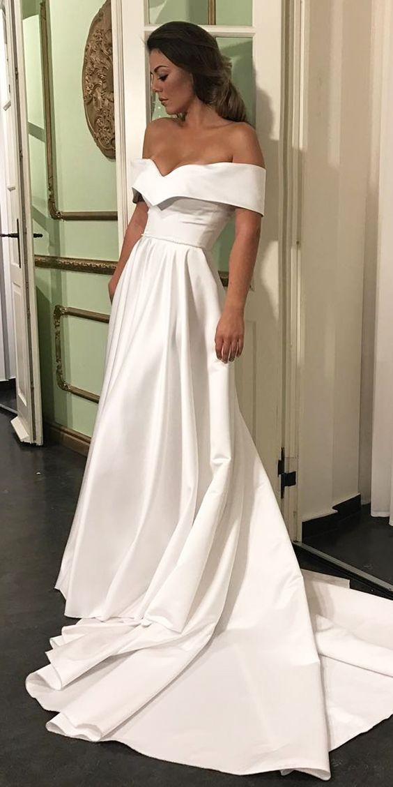Cheap Wedding Dresses 2017Romantic Off The Shoulder Satin Dress Court Train Bridal Simple Gown
