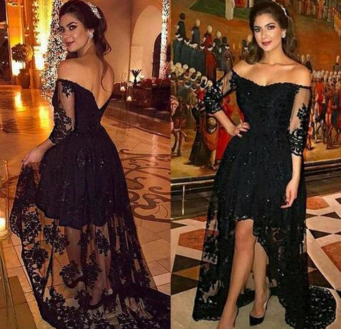 Cheap Prom Dresses 2017,Black Lace High Low Prom Dress Plus Size Long  Sleeves 2017 Off The Shoulder Formal Night Party Dresses Arabic Women  Evening ...