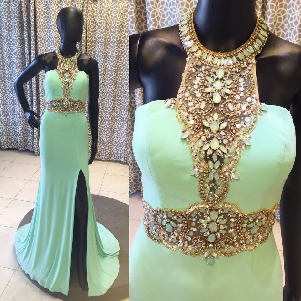 Cheap prom dresses 2017,Charming Prom Dress,Elegant Mermaid Prom Dress, Mermaid Evening Dress with Slit, Formal Evening Gown,Women Dress