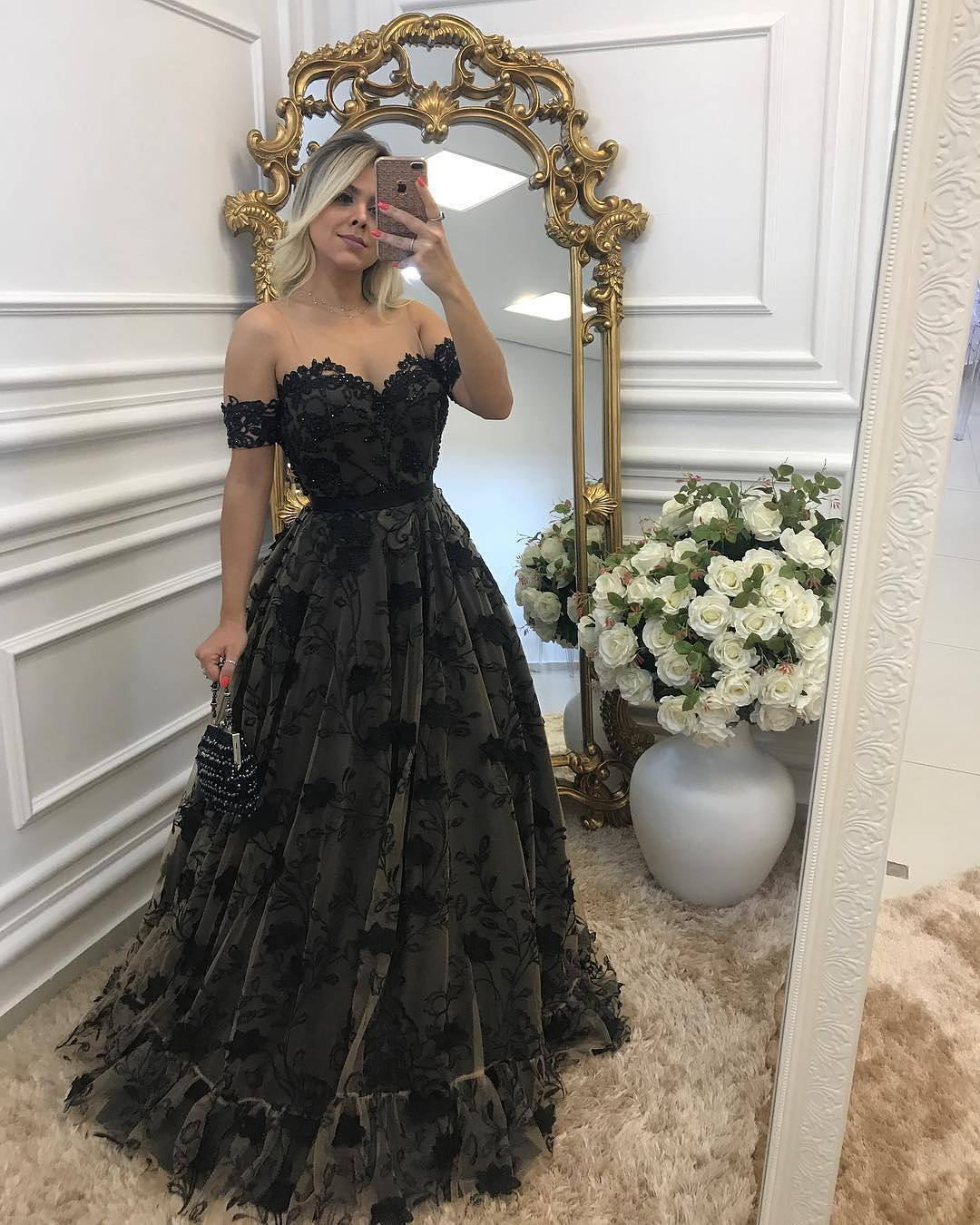 f42bdb01bbd4 Custom Made Black Off-Shoulder Lace Floor Length Bridesmaid Dress with  Rhinestone Beading, Prom