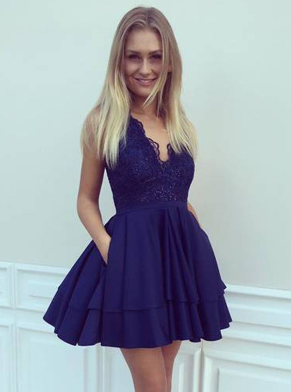 Cheap homecoming dresses 2017,Elegant Homecoming Dresses,Lace Homecoming Dresses,Blue Homecoming Dresses,Short Prom Dresses,Party Dresses
