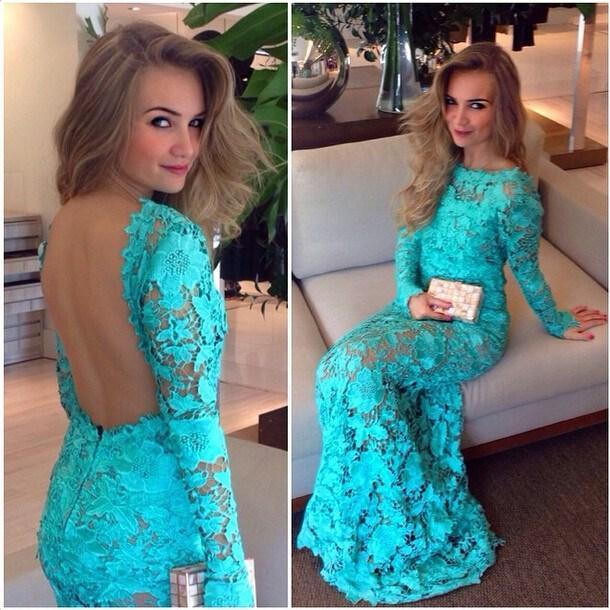 Cheap prom dresses 2017,Prom Gowns Lace Backless Long Sleeves Prom Dresses