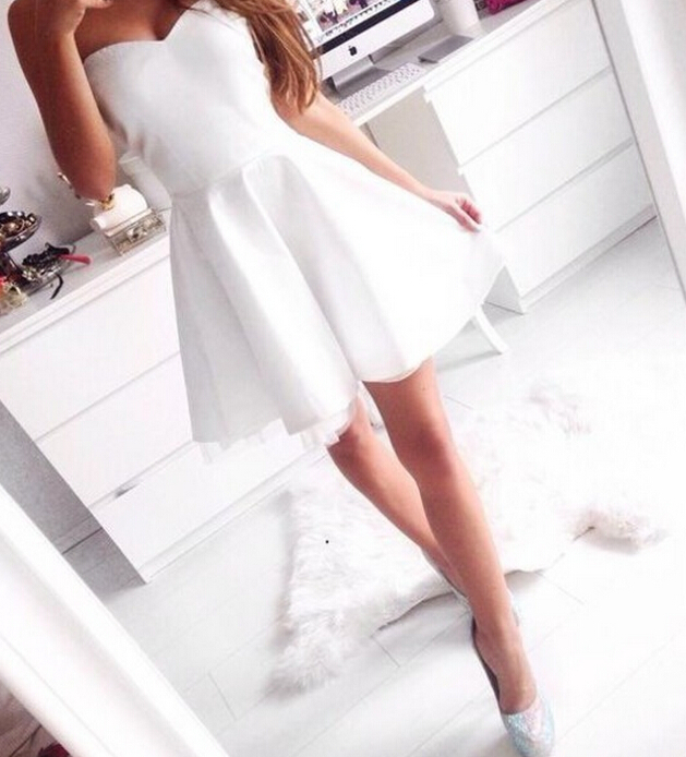 cheap many fashionable wholesale dealer Cheap Homecoming Dresses 2017,White Short Strapless Homecoming Dress Prom  Dress