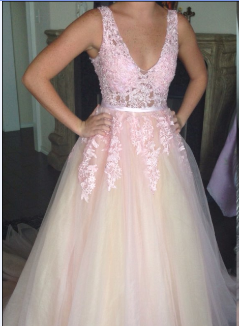 Cheap prom dresses 2017,Light Pink and Champagne Tulle V-neckline Long Party Gowns,