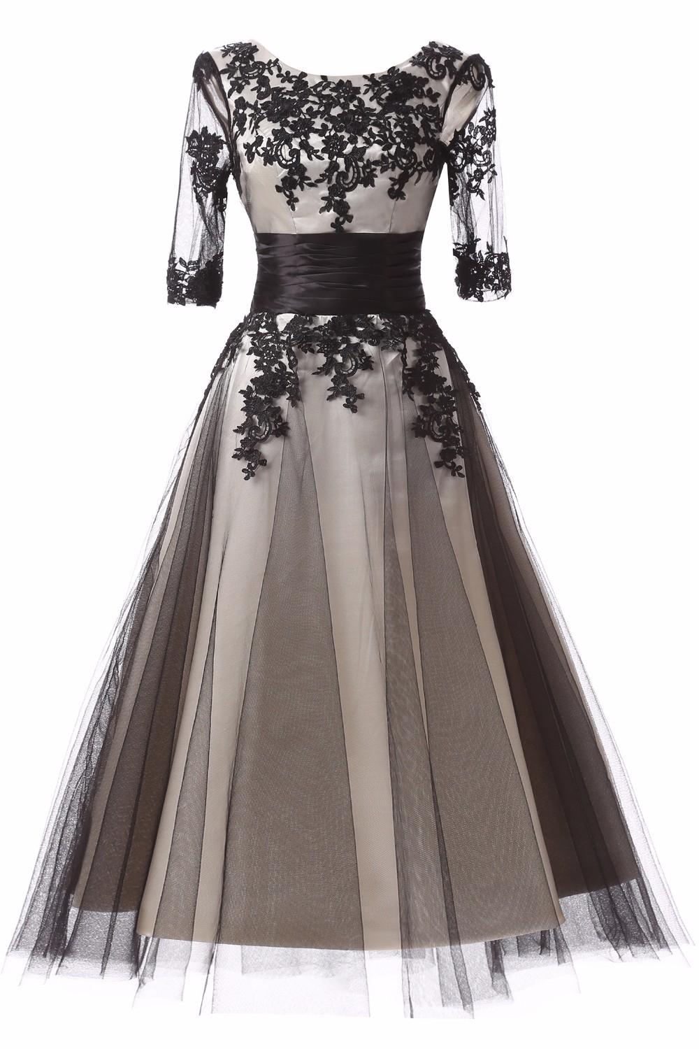 A Line Appliques Tulle Sashes Prom Dress 2017 Tea-Length Half Sleeve Evening Party Dress