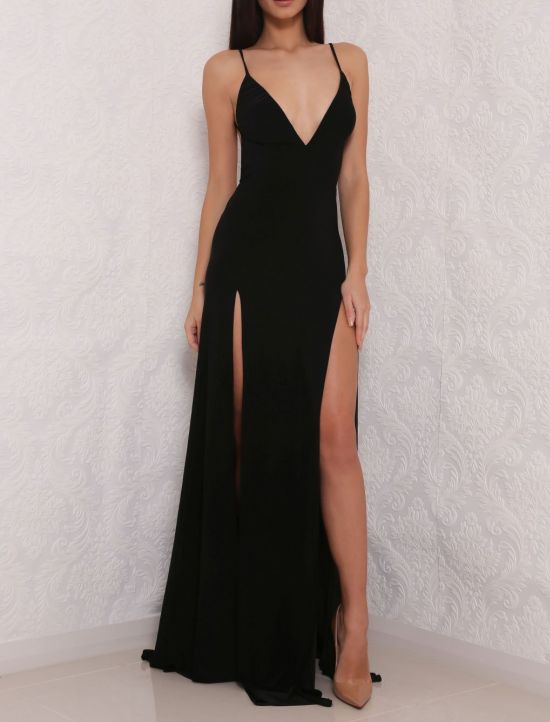 Black Plunge V Spaghetti Strap Maxi Dress Featuring Slits Formal