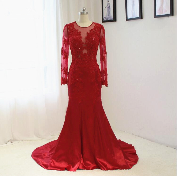 Red Long Sleeve Lace Mermaid Guest Wedding Dress With Satin Skirt