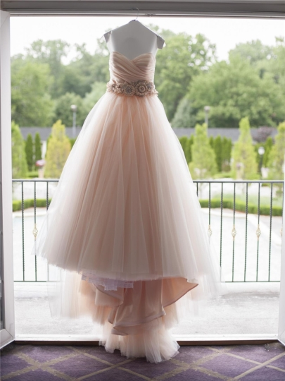 Pink Sweetheart Strapless Flowers Beading A-Line Wedding Dress