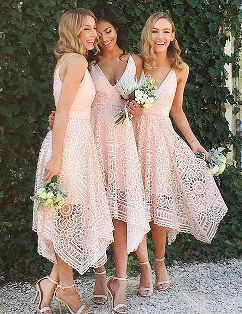 Asymmetrical V-neck Sleeveless Pink Lace Bridesmaid Dress, Prom Dress