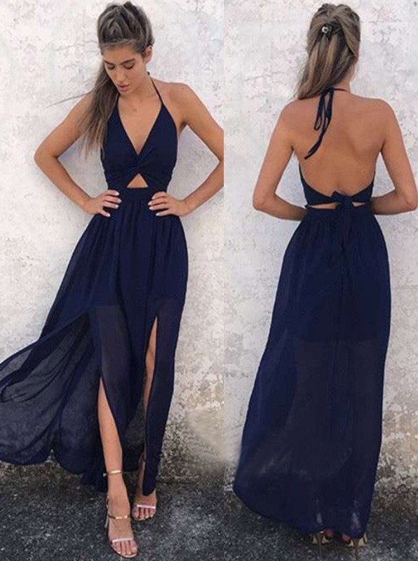 0ab2cfaeca053 Backless Newest Side Slit Summer Beach Party Dress Dark Navy Halter A-Line  Prom Dress