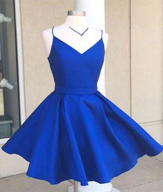 f117408657c4 Cheap Simple V Neck Blue Short Cute Homecoming Prom Dress on Luulla