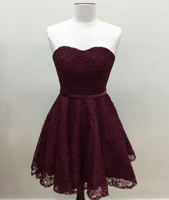 63644e34879 Lovely Sweetheart Burgundy Lace Short Prom Homecoming Dress on Luulla