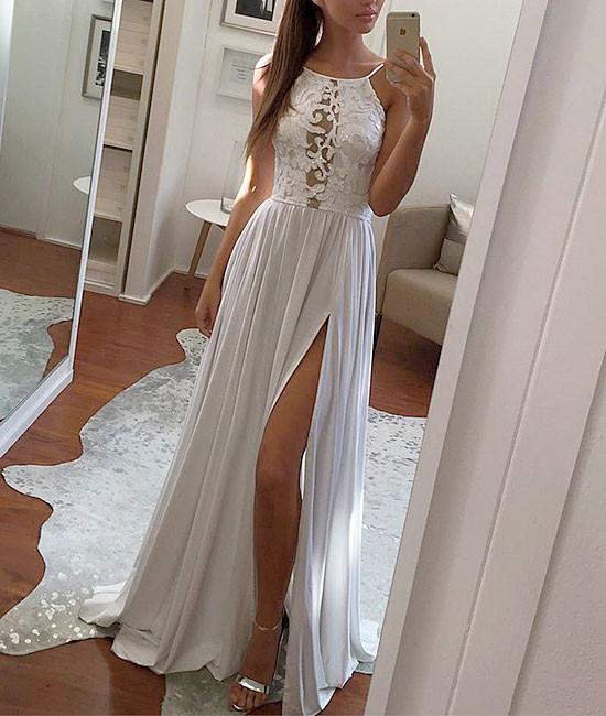 a632134100 Simple White Lace Chiffon Long Evening Prom Dress on Luulla