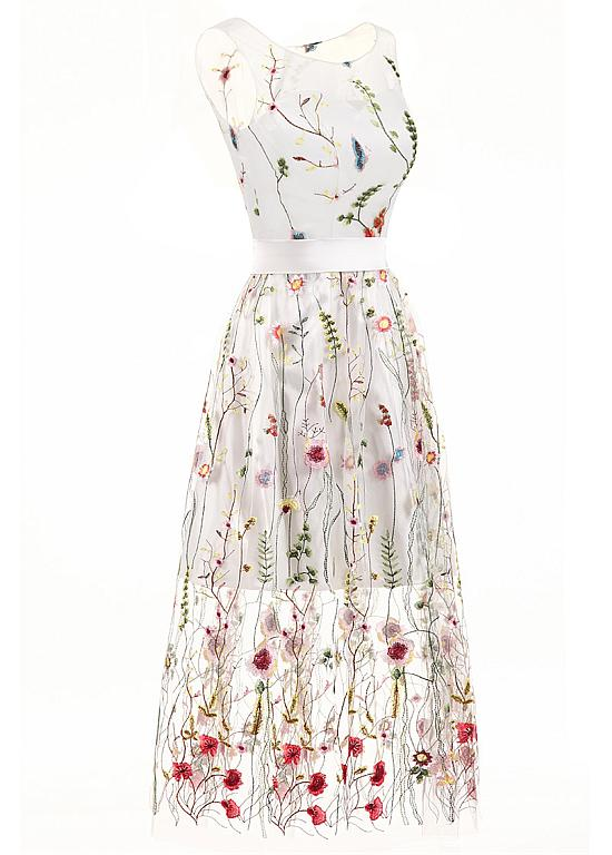 White Floral Embroidered Scoop Neck Sleeveless Mesh Tea-Length Dress