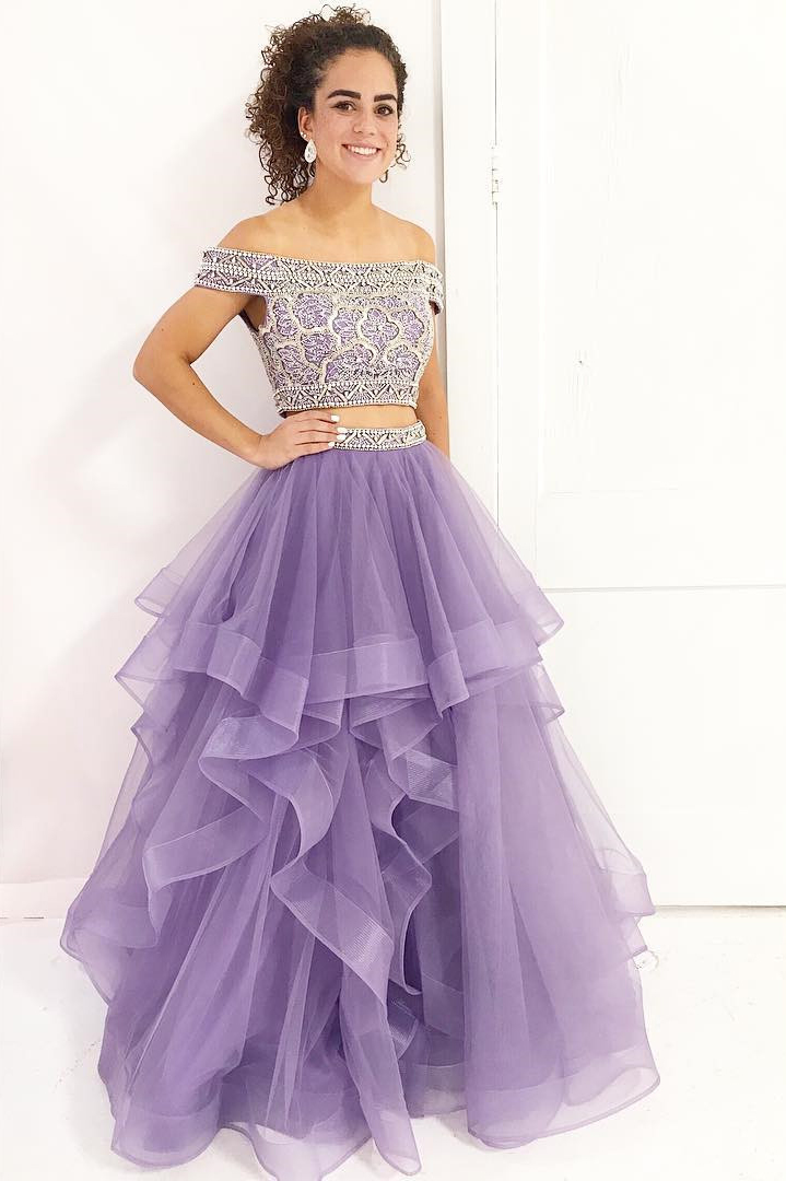 Two Piece Off Shoulder Lavender Long Prom Dress On Luulla