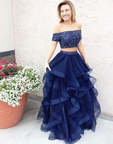 Two Piece A-line Prom Dress,Off The Shoulder Evening Dresses 2018 ...