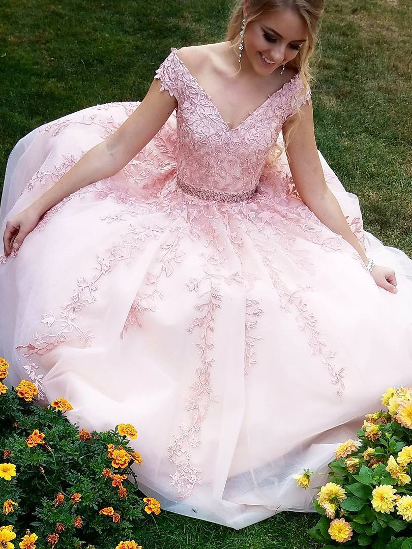 Princess Long Prom Dress V Neck Pink Lace Appliques Senior Prom Party Dresses
