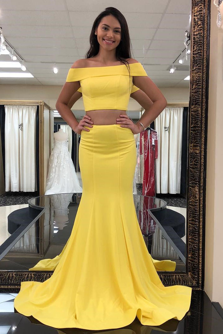 Two Piece Off The Shoulder Yellow Mermaid Long Prom Dress Formal