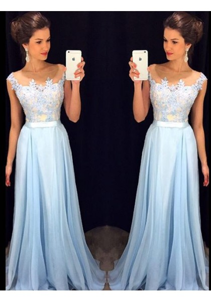 Prom Dress Prom Dress Blue Illusion Sweep Train Chiffon A Line Prom Dress