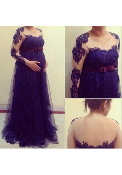 Prom dress Formal dress Long Sleeve Regency Illusion Brush Train Tulle Princess Maternity Prom Dress