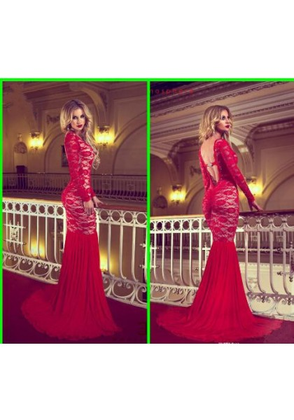 Prom Dress Formal Dress Backless Red Bateau Neck Court Train Lace Trumpet Mermaid Prom Evening Dress