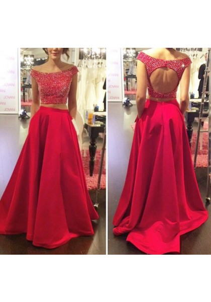 d35ade7758ad9d Prom Dress Formal Dress Two Piece Red Off The Shoulder Court Train Satin  Crop Tops A Line Prom Evening Dress