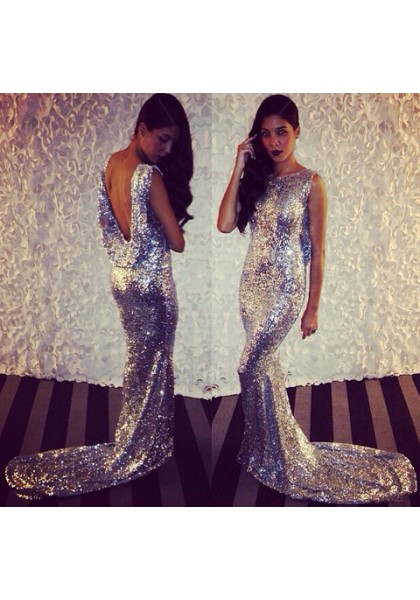 Formal Dress Prom Dress Silver Bateau Neck Court Train Satin Trumpet Mermaid Bling Prom Evening Dress