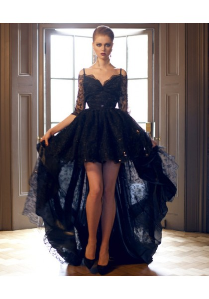 Dresses prom high low black exclusive photo